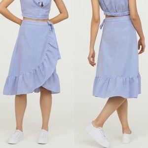 H&M   Seersucker Ruffle Wrap Striped Skirt